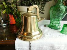 "VINTAGE HEAVY BRASS WALL MOUNTED SHIPS BELL DAISY RIM  6.5"" HIGH 7.25"" DIA"